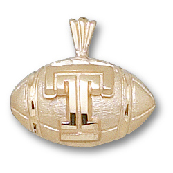 Temple Football 3/8in Pendant 14kt Yellow Gold