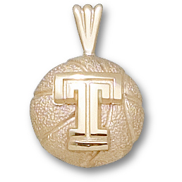 Temple Basketball 1/2in Pendant 10kt Yellow Gold