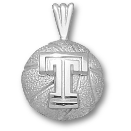 Temple Basketball 1/2in Pendant Sterling Silver
