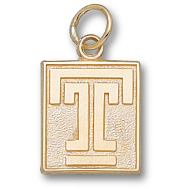 14kt Yellow Gold 1/2in Temple University T Pendant