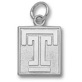 Sterling Silver 1/2in Temple University T Pendant
