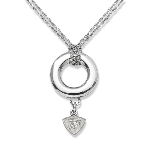 Sterling Silver 16in Oklahoma City Thunder Halo Necklace