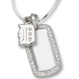 Sterling Silver Detroit Tigers Mini Dog Tag Necklace