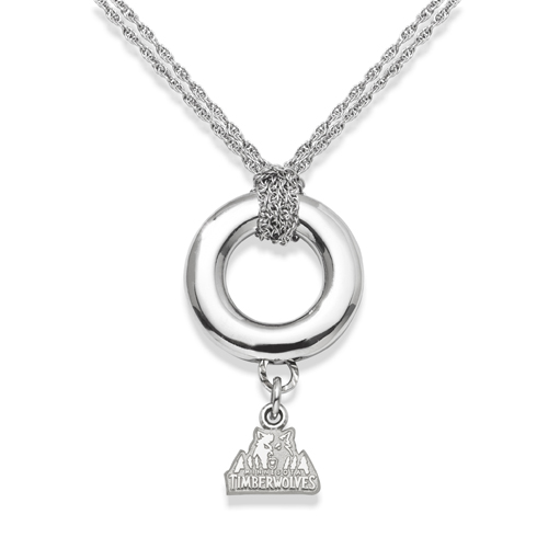 Sterling Silver 16in Minnesota Timberwolves Halo Necklace
