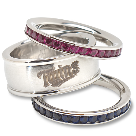 Minnesota Twins Team Logo Crystal Stacked Ring Set