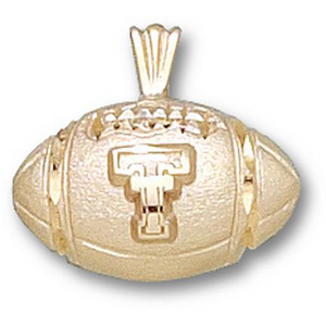10kt Yellow Gold 1/2in Texas Tech Football Pendant