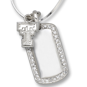 Sterling Silver Texas Tech University Mini Dog Tag Necklace