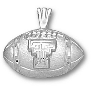Texas Tech 1/2in Sterling Silver Football Pendant