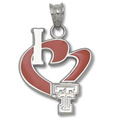 Sterling Silver 3/4in I Love Texas Tech Enamel Heart Pendant