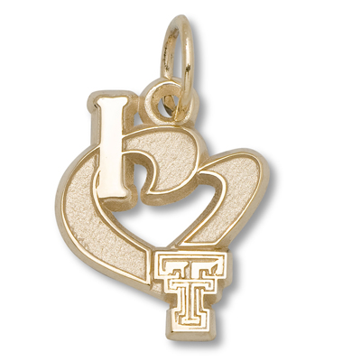 10kt Yellow Gold 1/2in I Love Texas Tech Charm