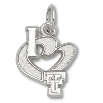 Sterling Silver 1/2in I Love Texas Tech Heart Charm