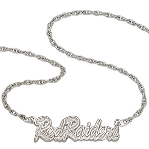 Sterling Silver 18in Red Raiders Script Necklace