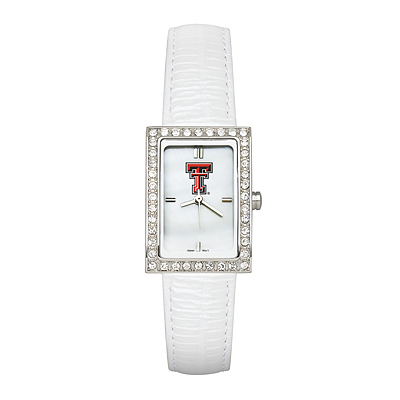 Texas Tech University Ladies Allure Watch White Leather Strap
