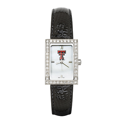 Texas Tech University Ladies Allure Watch Black Leather Strap