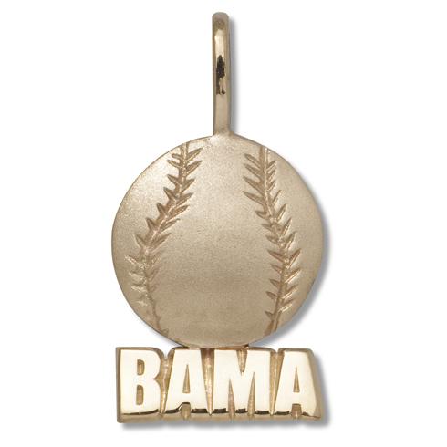 Alabama 5/8in 10k Baseball Pendant