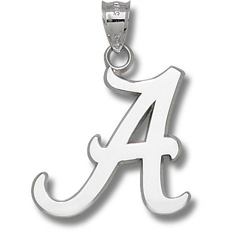Sterling Silver 1 1/2in University of Alabama Script A Pendant