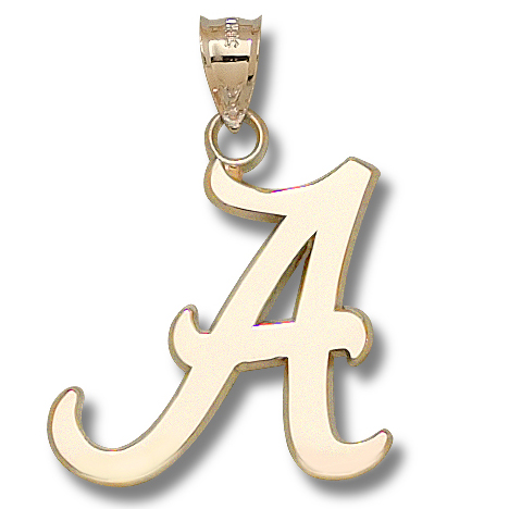 14kt Yellow Gold 1 1/2in University of Alabama Script A Pendant