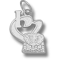 Sterling Silver 1/2in I Heart Alabama Crimson Tide Charm