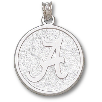 Sterling Silver 3/4in Round University of Alabama Pendant