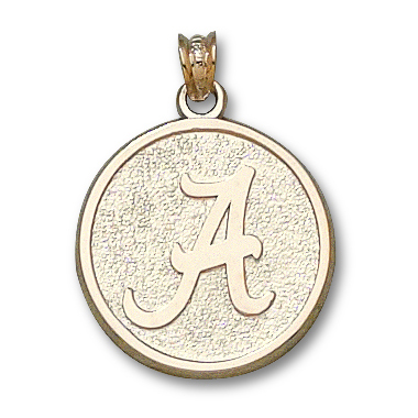 14kt Yellow Gold 3/4in University of Alabama Round Script A Pendant