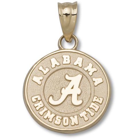 10kt Yellow Gold 1/2in Round Alabama Crimson Tide Charm