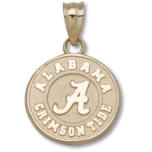 14kt Yellow Gold 1/2in Round Alabama Crimson Tide Charm