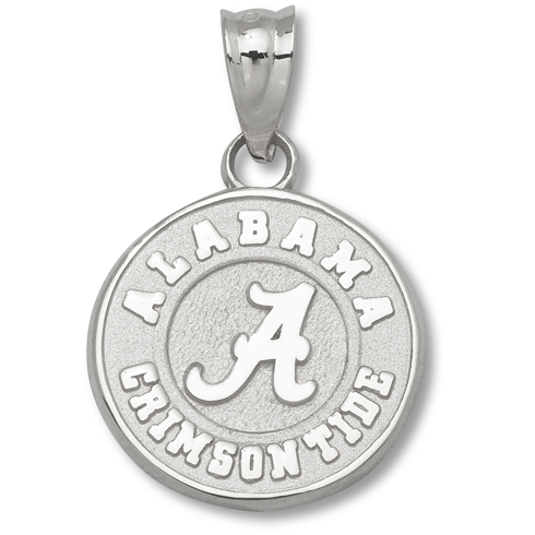 Sterling Silver 1/2in Round Alabama Crimson Tide Charm