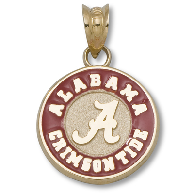 10kt Gold 1/2in University of Alabama Round Enamel Pendant