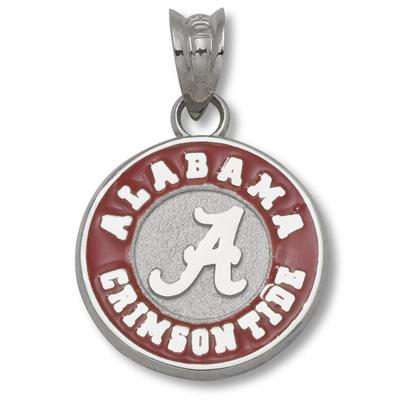 Sterling Silver 1/2in University of Alabama Round Enamel Pendant