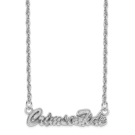 Sterling Silver 18in Crimson Tide Script Necklace