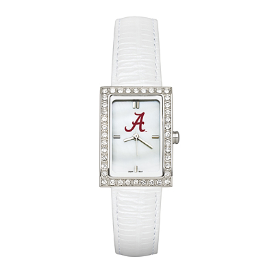 University of Alabama Ladies Allure Watch White Leather Strap