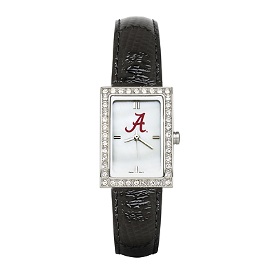 University of Alabama Ladies Allure Watch Black Leather Strap