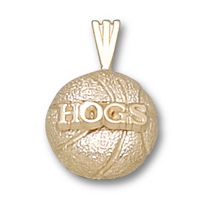 Arkansas Razorbacks 1/2in 10k Basketball Pendant