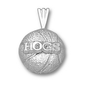 Arkansas Razorbacks 1/2in Sterling Silver Basketball Pendant