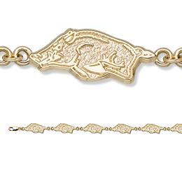 14kt Yellow Gold 7 1/2in University of Arkansas Bracelet
