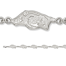Sterling Silver 7 1/2in University of Arkansas Bracelet