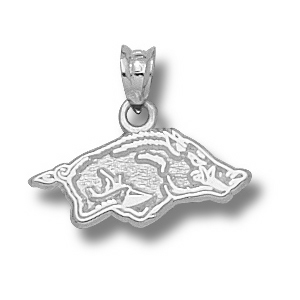 Sterling Silver 5/16in Arkansas Razorbacks Charm