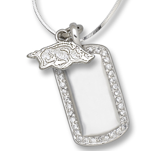 Sterling Silver University of Arkansas Mini Dog Tag Necklace