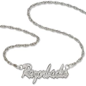 Sterling Silver 18in Arkansas Razorbacks Script Necklace
