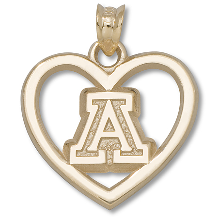 14kt Yellow Gold 5/8in University of Arizona Heart Pendant