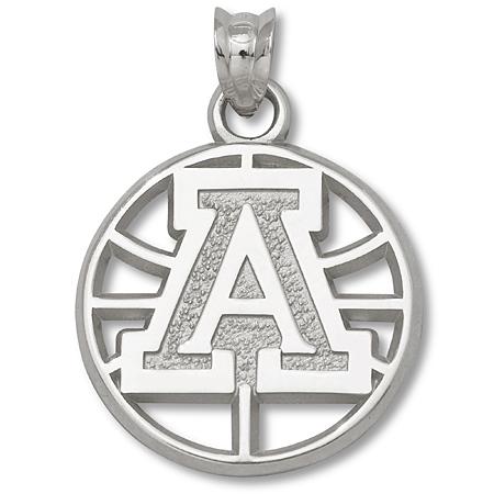 Sterling Silver Univ of Arizona Basketball Pendant