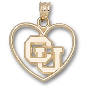 14kt Yellow Gold 5/8in University of Colorado Heart Pendant