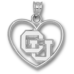 Sterling Silver 5/8in University of Colorado Heart Pendant