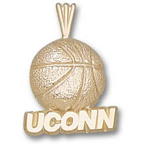 14kt Yellow Gold 3/4in UCONN Basketball Pendant