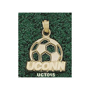 Connecticut Huskies 3/4in 14k Soccer Pendant