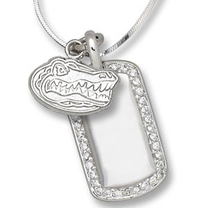 Sterling Silver University of Florida Mini Dog Tag Necklace