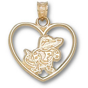 Florida Gators 3/4in 10k Heart Pendant