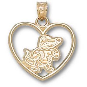 Florida Gators 3/4in 10k Heart Pendant