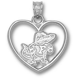 Sterling Silver 3/4in Albert Gator Heart Pendant