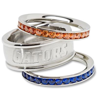 University of Florida Logo Crystal Stacked Ring Set Size 6